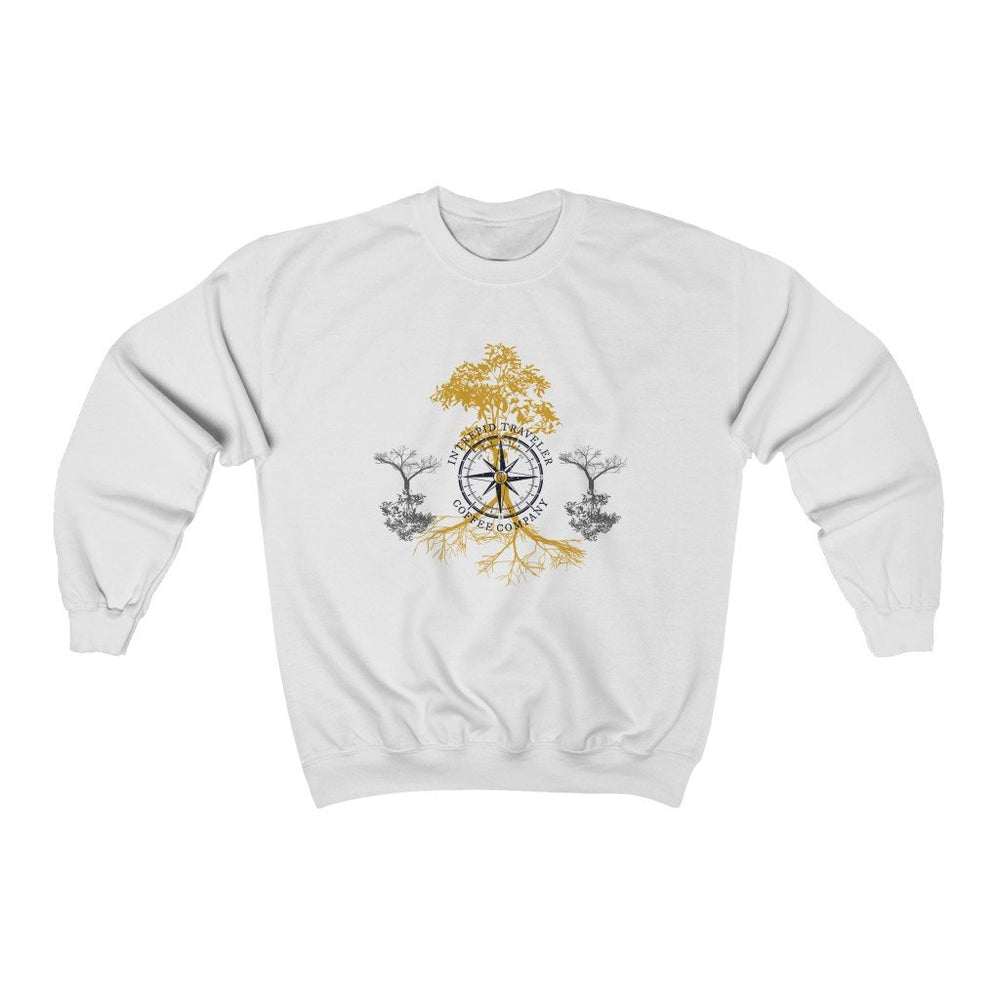 Printify Sweatshirt White / S Intrepid Traveler Coffee - Rooted - Unisex (2 Styles)