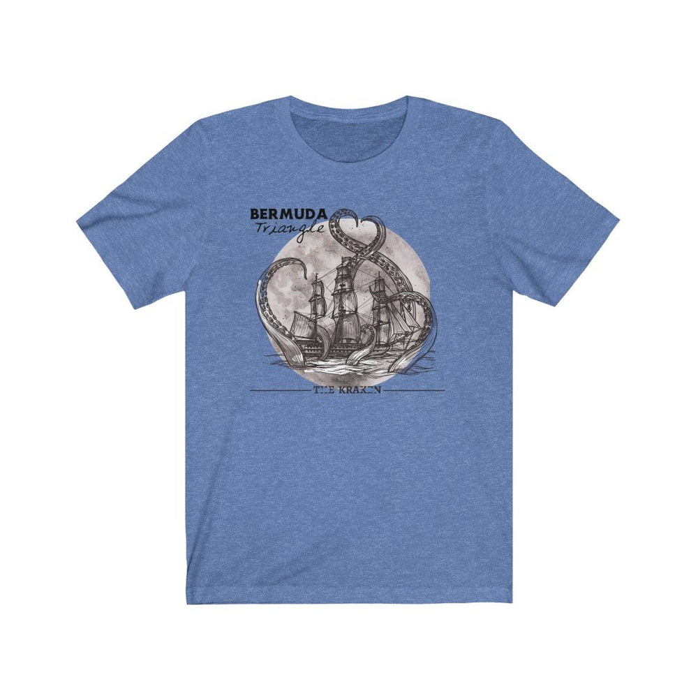 Printify T-Shirt Heather Columbia Blue / XS Bermuda Triangle - Kraken Attacks-  Unisex (6 Styles)