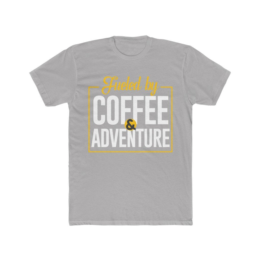 Printify T-Shirt Solid Light Grey / L Fueled by Coffee and Adventure - Men's Cotton Crew Tee
