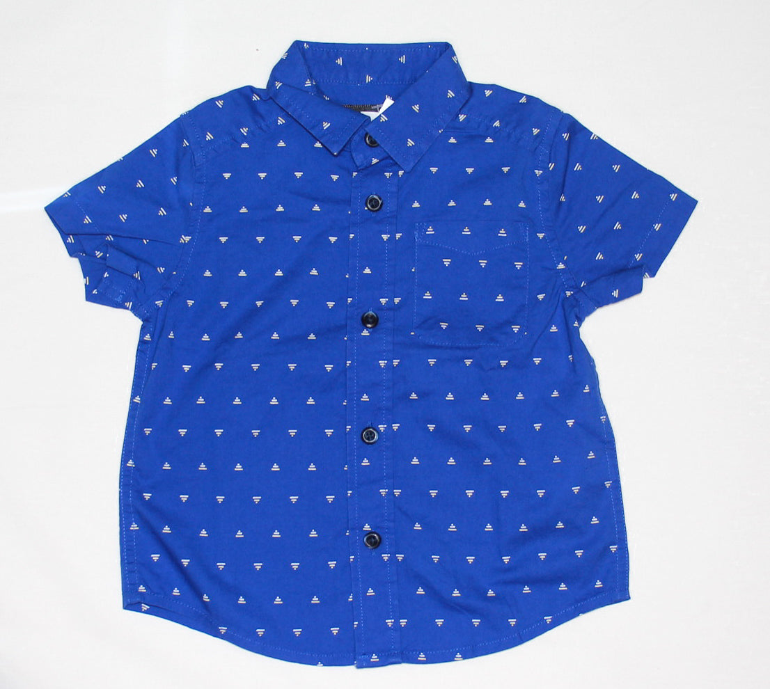 Blue Button Up Short Sleeve/ Various Sizes