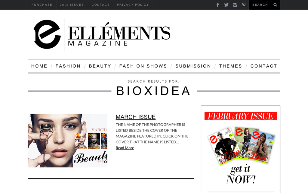 BIOXIDEA as featured in Elléments Magazine