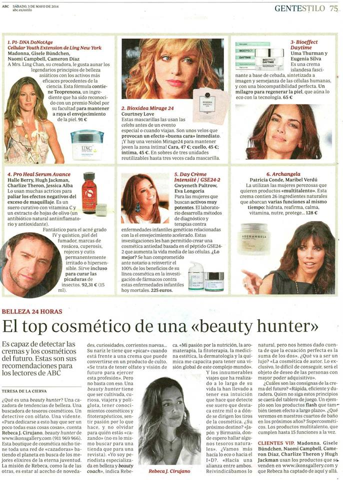 BIOXIDEA Mirage24 featured in Spanish magazine GenteStilo as top pick by Ikons Gallery Beauty Hunter