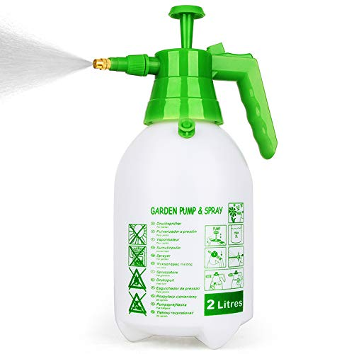 Munyonyo Garden Pump Sprayer,68oz/34oz Hand-held Pressure Sprayer Bottle for Lawn with Safety Value&Adjustable Nozzle, for Watering,Spraying Weeds,Home Cleaning and Car Washing,0.5 Gallon 68oz Green