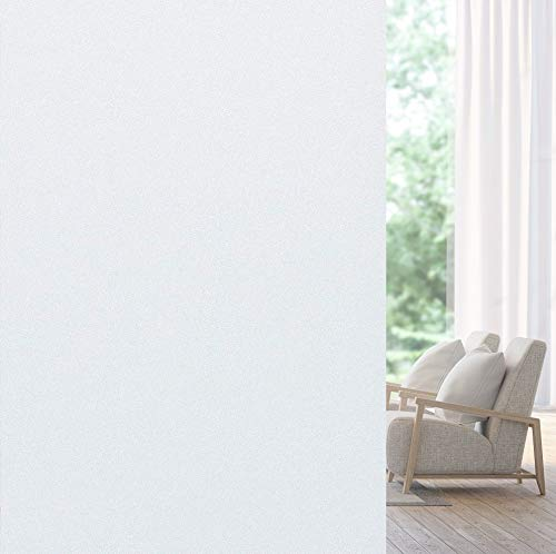 WochiTV Frosted Privacy Window Film Bathroom Static Cling Non Adhesive Removable Opaque Glass Covering Heat Control UV Blocking Door Sticker for Home Shower Office (35.4 in x 32.8 Ft) 35.4 Inch x 32.8 Feet