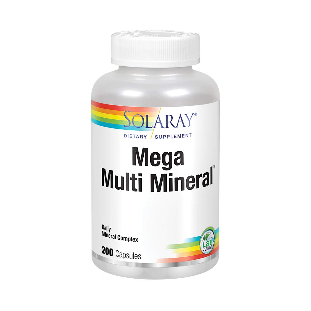 Solaray Mega Multi Mineral | 200 Capsules 200 Count (Pack of 1)