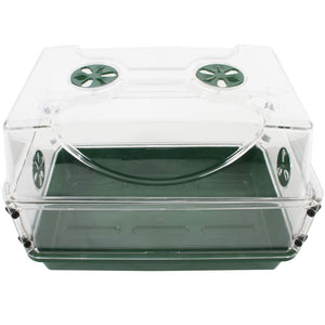 EarlyGrow 93763 Medium Seed and Herb Domed Propagator with Vented Side Height Extension, Extender, Green Medium with Side Extender