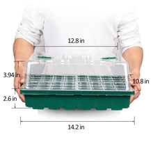 Load image into Gallery viewer, MIXC 3-Set 144 Cells Strong Seed Starter Trays with Humidity Dome and Base Plant Growing Germination kit Clone Tray for Microgreens, Soil Blocks, Rockwool Cubes,Wheatgrass, Hydroponic Green