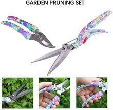 Load image into Gallery viewer, DM Gardening Tool Set, 35PCS Heavy Duty Aluminum Garden Tools Set for Women with Carrying Case, Ergonomic Handle Shovels, Rakes, Pruning Shears, Gardening Tools for Men(Purple Floral) Purple Flower