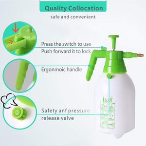 ITISLL Manual Garden Sprayer Hand Lawn Pressure Pump Sprayer Safety Valve Adjustable Nozzle Half Gal ½ Gal Green_Hand & White_Bottle