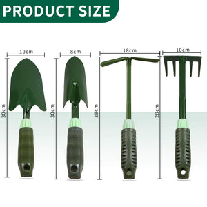 Garden Tool Set, 4-Piece Stainless Steel Hand Trowel, Transplant Trowel, Five-Tooth Harrow, and Dual-Purpose Digging Rake with Soft Rubberized Non-Slip Handle for Men and Women Garden Tool Set