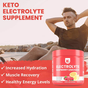 KEPPI Keto Electrolytes Powder - 50 Servings No Sugar or Carbs - Advanced Hydration Raspberry Lemonade Electrolyte Supplement, Boost Energy Without Sugar