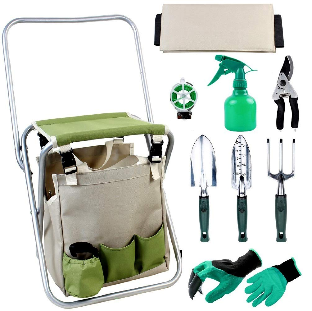 INNO STAGE Upgrade 10 Piece Garden Hand Tools Set, Collapsible Gardening Stool Seat Kit with Backrest and Detachable Storage Tote Bag for Father Mother as Gift Green