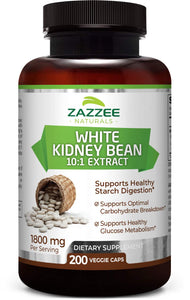 Zazzee White Kidney Bean Extract 200 Vegan Capsules, 1800 mg Per Serving, Potent 10:1 Extract, 18,000 mg Strength, 100% Pure, Vegan, Non-GMO and All-Natural