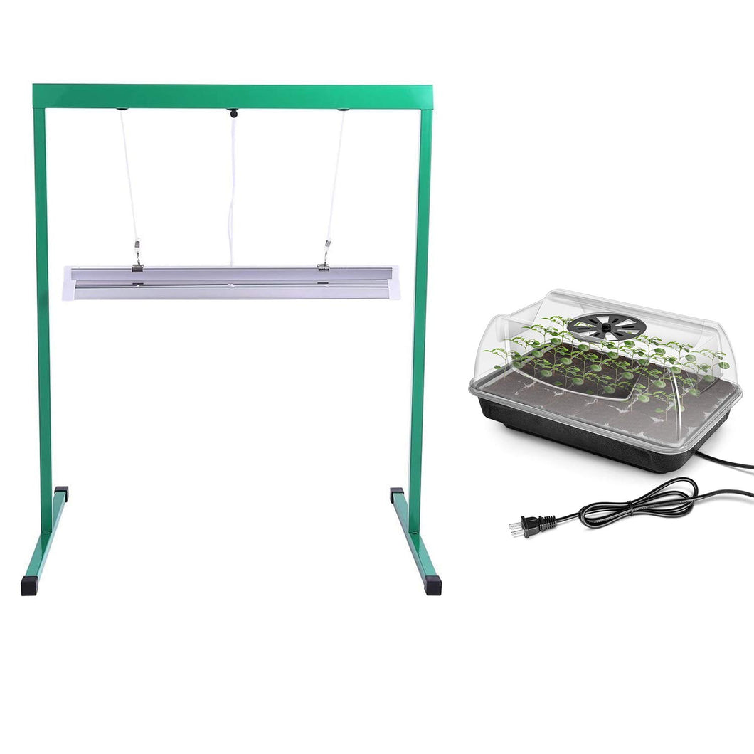 iPower GLTRAYDOMEHEATT52F Heating Seed Starter Germination Kit (with Heater, Seedling Propagation Tray) and 24W 2 Feet T5 Fluorescent, Grow Light Stand Rack Combo