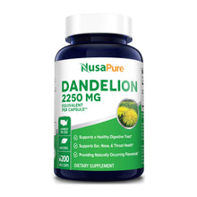 Load image into Gallery viewer, Dandelion Extract 2,250mg 200 Veggie Capsules (Non-GMO, Extract 5:1 & Gluten Free) Supports Ear, Nose and Throat Health* Supports Healthy Digestion*