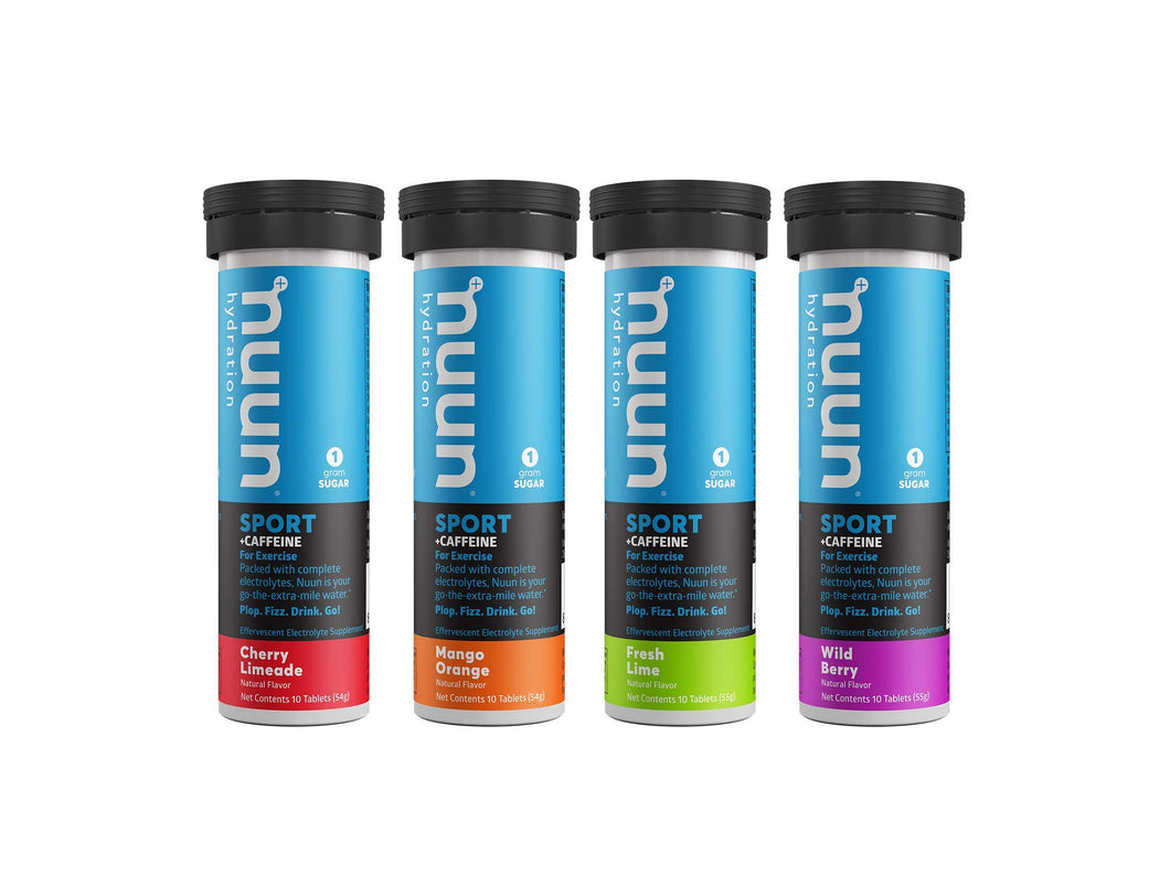 Nuun Sport + Caffeine: Electrolyte Drink Tablets, Mixed Flavor Box, 10 Count (Pack of 4) Mixed flavors 10 Count (Pack of 4)