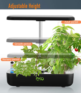 QYO Hydroponics Growing System, Indoor Herb Garden Starter Kit with LED Grow Light, Smart Garden Planter for Home Kitchen, Automatic Timer Germination Kit, Height Adjustable (12 Pods)