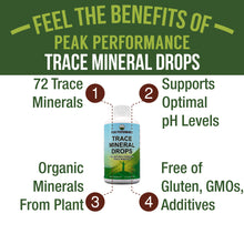 Load image into Gallery viewer, Organic Trace Minerals Liquid Drops for Water. Ionic Plant Based Fulvic Trace Mineral Drop Supplement + Magnesium. Replenishes Natural Minerals, Electrolytes + Optimal pH Levels. 8 fl oz Concentrate