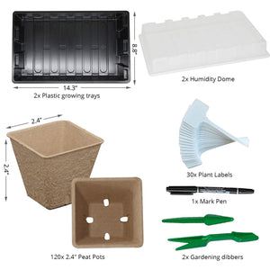 Seed Starter Kit with 120 Peat Pots for Seedlings Seed Starter Tray Plastic Growing Trays 30 Plant Labels Outdoor or Indoor Herb Garden Nursery… Large-120 Cells