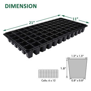 10 Pack Seed Starter Kit, 72 Cell Seedling Trays Gardening Germination Plastic Tray Nursery Pots Mini Propagator Plant Grow Kit Plug Tray Starting Trays for Seedling Germination Black 72 Cells Tray