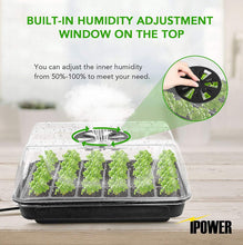 Load image into Gallery viewer, iPower GLTRAYDOMEHEATT52F Heating Seed Starter Germination Kit (with Heater, Seedling Propagation Tray) and 24W 2 Feet T5 Fluorescent, Grow Light Stand Rack Combo