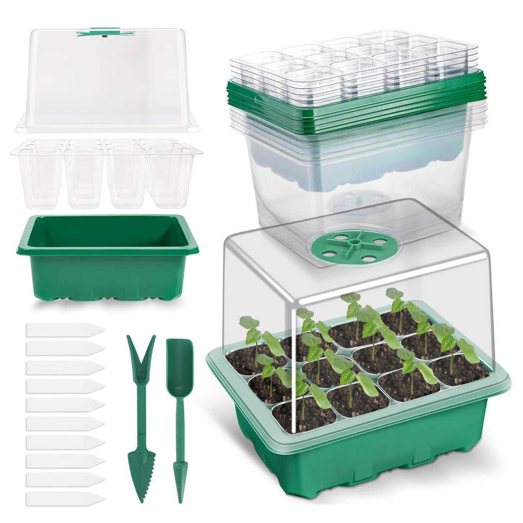 10 Pack 120-cell Seed Starter Tray kit, ANGTUO Plant Germination Starter Kit Growing Trays with Humidity Dome and Base for Greenhouse Grow Wheatgrass Hydroponic(12 Cells per Tray&12 Tools in Total) B