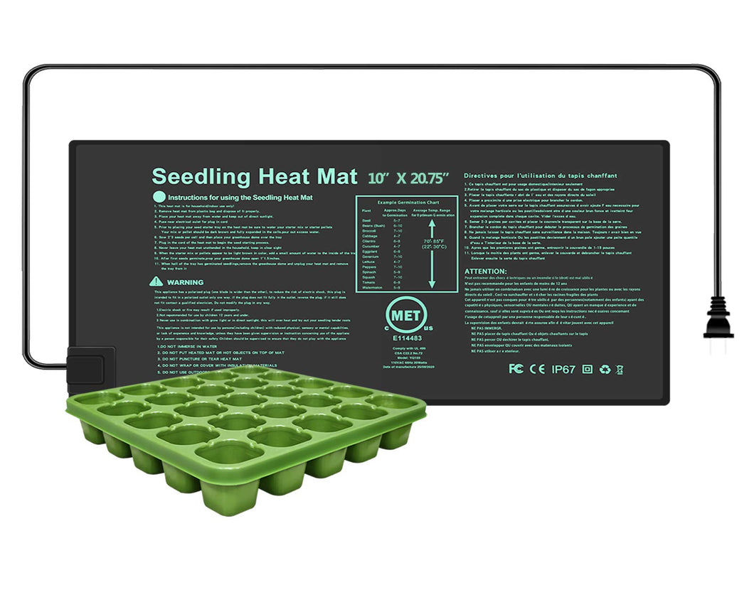 YOUSHENGER Seedling Heat Mat 10''x20.75'',MET Certified Waterproof Germination Station with 1pcs Seed Starter Tray, Warm Hydroponic Heating Mat for Indoor Home Gardening Plant Germination kit 1-Pack 10