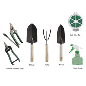 Pure Garden 75-08002 8 Piece Garden Tool and Tote Set Repel-pesticides, 7x4.5, b 8 Piece Tool Set