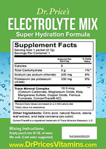 Electrolyte Mix Super Hydration Formula + Trace Minerals | NEW! Lemon-Lime Flavor (30 powder packets) Sports Drink Mix | Dr. Price's Vitamins | No Sugar, Non-GMO, Gluten Free & Vegan