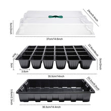 Load image into Gallery viewer, 5 Pack 120-cell Seed Starter Tray kit, ANGTUO Plant Germination Starter Kit Growing Trays with Humidity Dome and Base for Greenhouse Grow Wheatgrass Hydroponic(24 Cells per Tray) 5 PACK