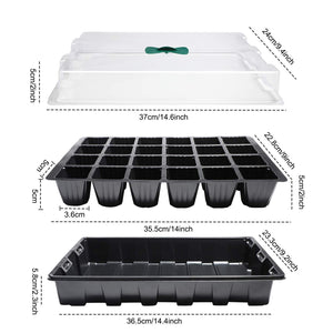 5 Pack 120-cell Seed Starter Tray kit, ANGTUO Plant Germination Starter Kit Growing Trays with Humidity Dome and Base for Greenhouse Grow Wheatgrass Hydroponic(24 Cells per Tray) 5 PACK