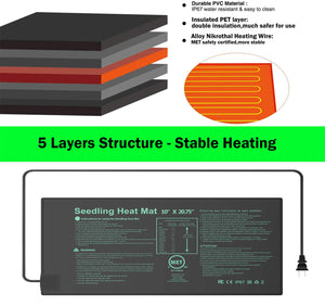 "YOUSHENGER Seedling Heat Mat 10''x20.75'',MET Certified Waterproof Germination Station with 1pcs Seed Starter Tray, Warm Hydroponic Heating Mat for Indoor Home Gardening Plant Germination kit 1-Pack 10""*20.75"""