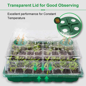 MIXC 3-Set 144 Cells Strong Seed Starter Trays with Humidity Dome and Base Plant Growing Germination kit Clone Tray for Microgreens, Soil Blocks, Rockwool Cubes,Wheatgrass, Hydroponic Green