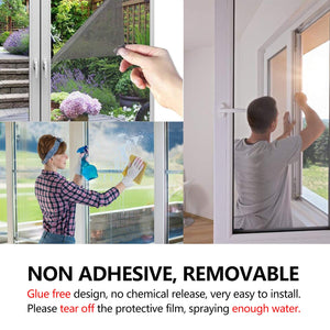 One Way Window Film, WochiTV Privacy Window Tint for Home, UV Blocking Mirror Reflective Heat Control Glass Film Non Adhesive Static Cling Daytime Privacy Protection Black-Silver 35.4In x 32.8Ft 35.4 Inch x 32.8 Feet
