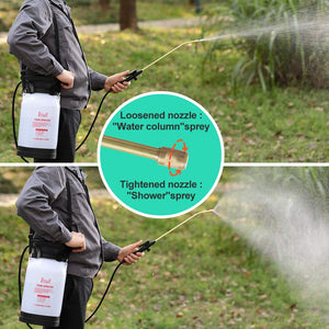 ITISLL Portable Garden Pump Sprayer Brass Wand Shoulder Strap for Yard Lawn Weeds Plants 1.3Gal 1.3 Gal_Brasswand Black_Handle & White_Bottle