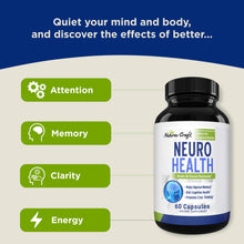 Load image into Gallery viewer, Nootropics Brain Supplement Support - Memory Booster for Mind Focus Reduce Anxiety - DMAE Pills for Concentration Improve Brain Function, Nuero & IQ with Bacopa Monnieri L-Glutamine for Men and Women 60 Count (Pack of 1)