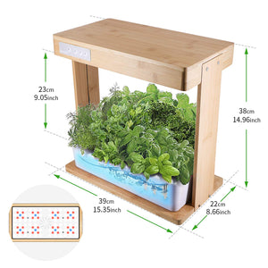 Hydroponics Growing System with Bamboo Frame,Indoor Herb Garden Germination Kits with LED Grow Light, Automatic Timer,Circulation Pump & Nutrient Powders for for Plants, Vegetables & Fruits Bamboo Frame Version A