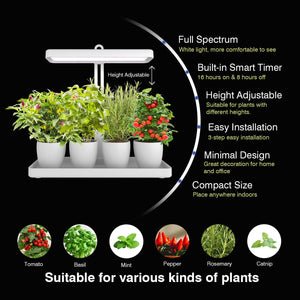 LED Indoor Herb Garden, Height Adjustable GrowLED Plant Grow Indoor Garden Light, LED Germination Kit with Smart Timer, Suitable for Various Plants, White Light Potted Planting
