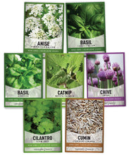 Load image into Gallery viewer, 15 Herb Seeds For Planting Varieties Heirloom Non-GMO 5200+ Seeds Indoors, Hydroponics, Outdoors - Basil, Catnip, Chive, Cilantro, Oregano, Parsley, Peppermint, Rosemary and More By Gardeners Basics