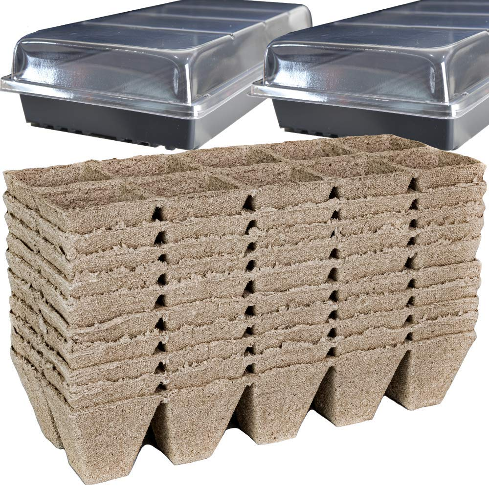 Peat Pots for Seedlings - 10 Seedling Trays with 2 Seed Starter Tray and Humidity Dome | 100 Biodegradable Seed Starter Pots for Plants | Peat Pods for Seedlings | Seed Starting kit -by Mr Sprout