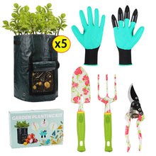Load image into Gallery viewer, Gardening Tools Potato Grow Bags - 4 Garden Tools Set+5 PCS 10 Gallon Grow Bags, Heavy Duty Aluminum Garden Tools with Gardening Gloves Plus Fabric Pots for Plants, Best Gardening Gift for Men Women 8