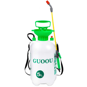 GUOOU 1.3 Gallon Pump Sprayer, Backpack Sprayer with Pump, Garden Pump Sprayers, Lawn Pressure Water Sprayer with Adjustable Shoulder Strap, Pressure Relief Valve
