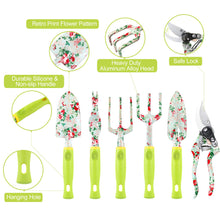 Load image into Gallery viewer, Gardening Tool Set - 13 PCS Heavy Duty Aluminum Gardening Tools Kit Floral Print Garden Tool Set with Non-Slip Rubber Handle & Durable Storage Tote Bag Gardening Supplies Gifts for Women Men