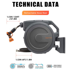 "Giraffe Retractable Garden Hose Reel 1/2"" x 130 ft, Super Heavy Duty, Any Length Lock, Slow Return System, Wall Mounted and 180°Swivel Bracket 1/2 130FT HOSE"