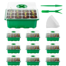 Load image into Gallery viewer, AQUEENLY Seed Starter Tray 10Pack Seed Trays with Humidity Adjustment Domes and Base Growing Trays, Germination Tray Kit with 120Cell Tray for Seedling, Seed Starting, Seed Growing (12Cells per Tray)