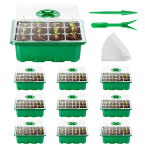 AQUEENLY Seed Starter Tray 10Pack Seed Trays with Humidity Adjustment Domes and Base Growing Trays, Germination Tray Kit with 120Cell Tray for Seedling, Seed Starting, Seed Growing (12Cells per Tray)