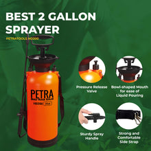 Load image into Gallery viewer, PetraTools 2-Gallon Sprayer - Lawn and Garden Pump Sprayer - for Weeds, Water, Chemical, Pesticide, Disinfectant, ULV500 – Includes Should Strap, Wand, Nozzle (HD200) 2 Gallons
