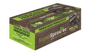 "Super Sprouter Premium Propagation Kit with Heat Mat, 10"" x 20"" Tray, 7"" Dome & T5 Light, 5 Piece, Black/Clear"