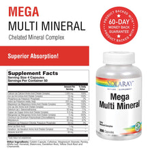 Load image into Gallery viewer, Solaray Mega Multi Mineral | 200 Capsules 200 Count (Pack of 1)