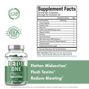 DetoxOne Colon Cleanser & Detox for Weight Loss by NutraOne | 30 Day Extra Strength Detox Cleanse for Constipation Relief* | Flush Toxins, Boost Energy & Improves Nutrient Absorption*